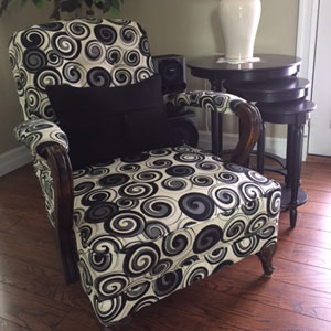 Chair with black and white pattern