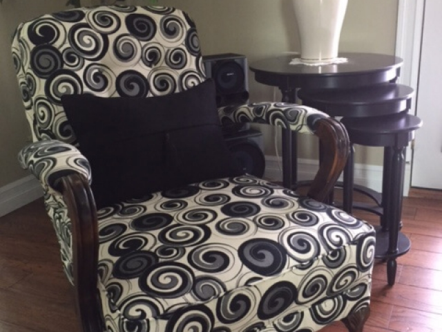 black and white patterned chair